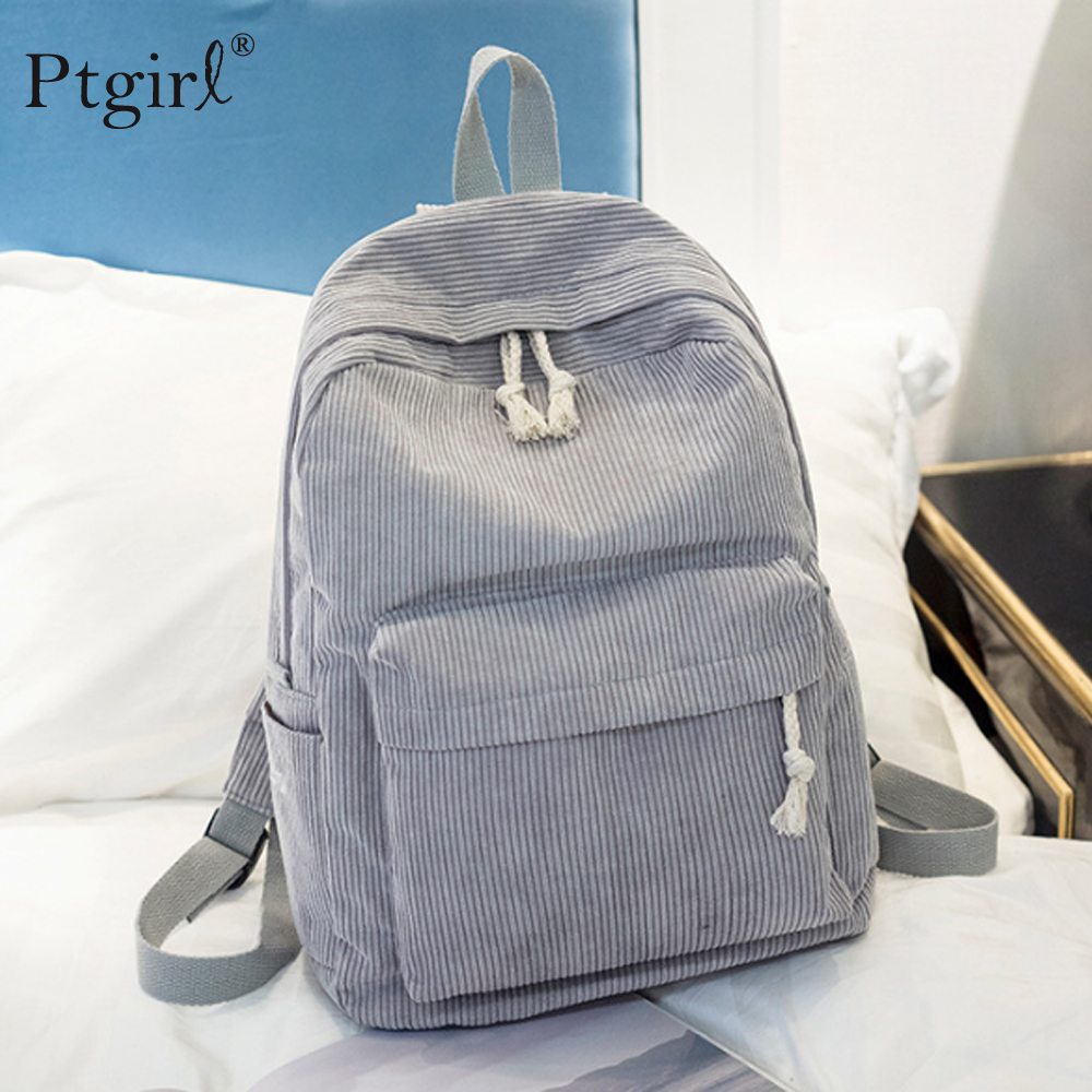 New Fashion Preppy Style Soft Fabric Backpack Female Corduroy Design School Backpack For Teenage Girls Backpack Mochila Escolar