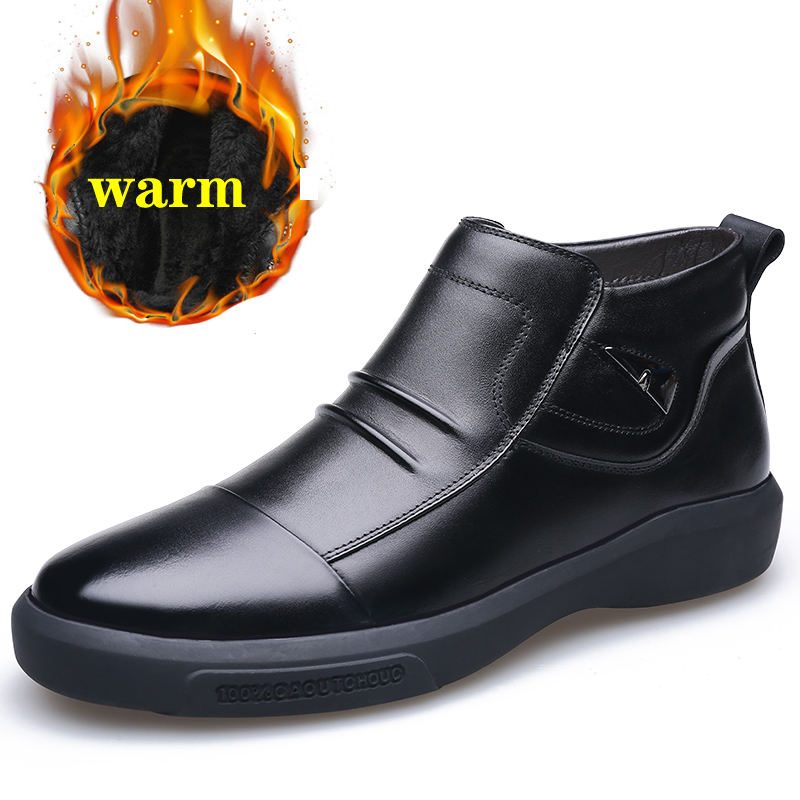 2019 Men Genuine Leather Winter Boots Warm Plus Velvet Snow Men Boots Ankle Boots For Men Business Dress Shoes Men