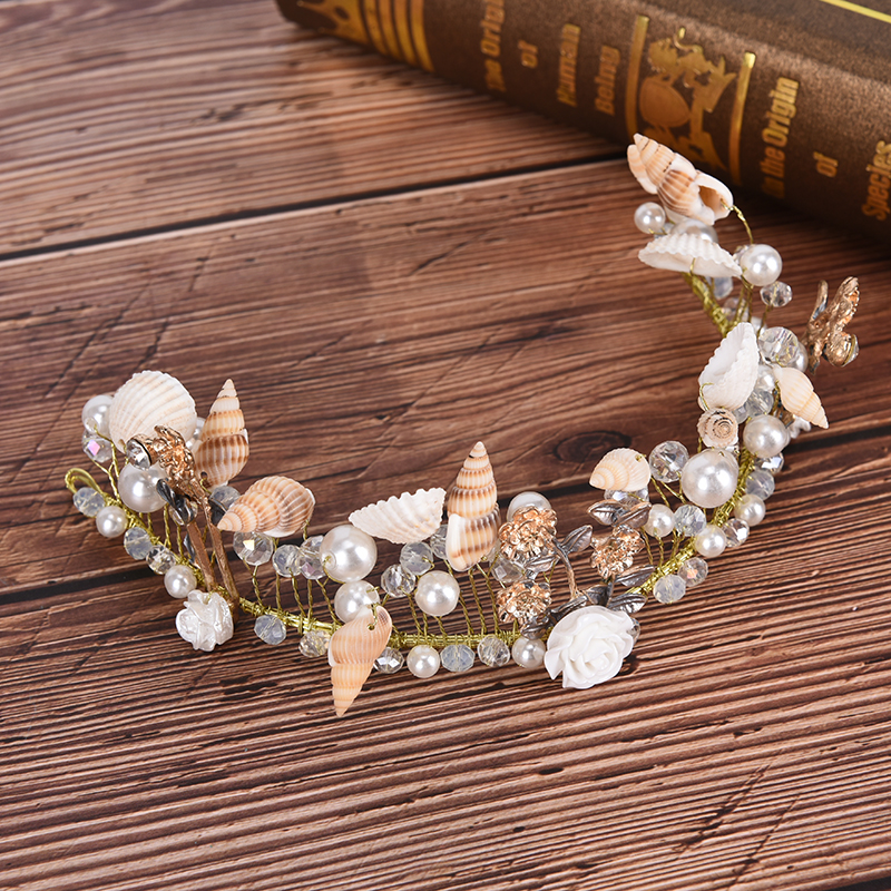 Rhinestone Leaf <font><b>Headpieces</b></font> Charm Headdress Boho <font><b>Wedding</b></font> <font><b>Hair</b></font> <font><b>Accessories</b></font> Bridal Shell Crown Pearl Prom Tiara Headband <font><b>For</b></font> Bride image