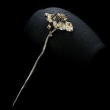 925 palillos de pelo chino de plata de ley mujeres Vintage accesorios para el cabello de novia flor de loto perla niña Tiara joyería de lujo