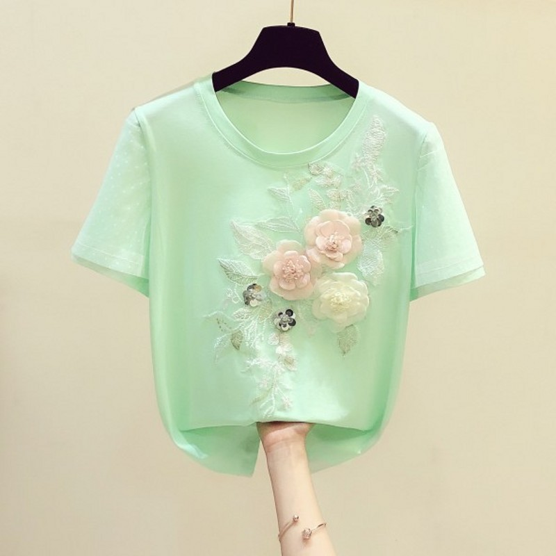 Green Tshirt for Women Flower Shirt 2020 Summer New Three-dimensional Embroidered Flower Short Sleeve Round Collar T-shirt