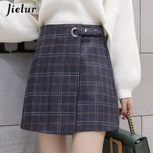 Jielur Skirt Vintage Plaid A-line Woman Autumn Winter Khaki Irregular Elegant Hipster Skirts Ladies Simple Korean Ropa Mujer