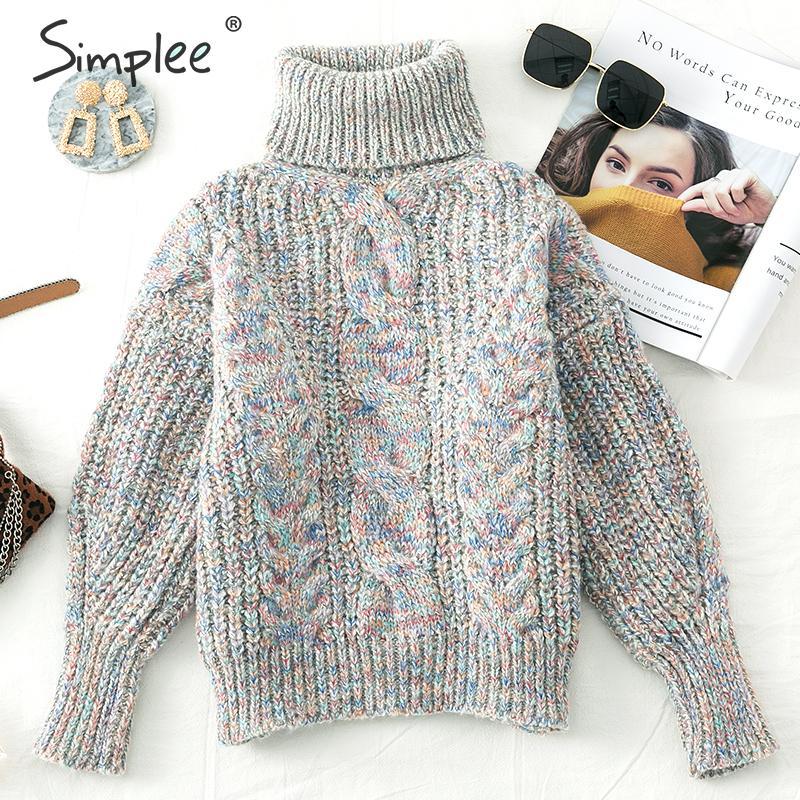 Simplee Turtleneck Knitted Women Pullover Sweater Autumn Winter Long Sleeve Twist Female Sweater Twist Leisure Ladies Jumper
