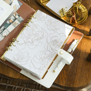Image 5 - Foil Golden Floral Notebook and journals Daily book A5A6 Planner travelers notebook stationery store school supplies