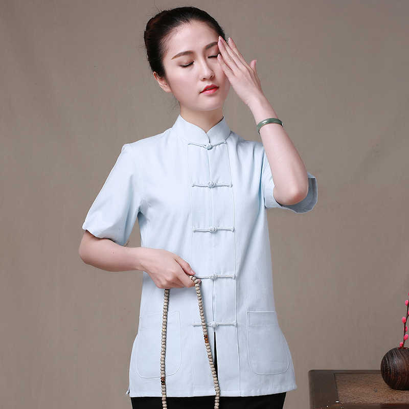 Lichtblauw Tuniek 100% Katoen Chinese Traditionele Vrouwen Kung Fu Blouses Tang Pak Tops Camisa Blusa Tops Plus Size