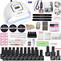 Nail Set with 80/54W UV Led Lamp Dryer Manicure Machine 20pcs Gel Polish Set for Nail Kit Nail Art Tools Kit Extention Gel Set