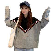 Hoodies Women Fashion Ulzzang All-match Korean Style Thin Loose Patchwork Hooded Sweatshirt Simple Wome
