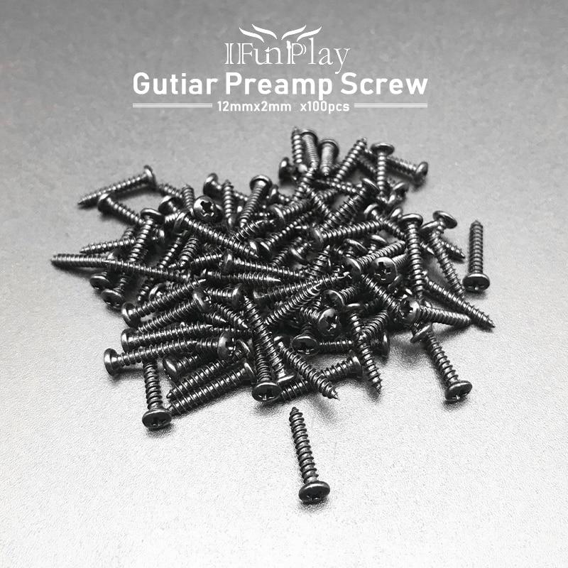 100 sztuk muzyka śruba 12mm x 2mm do instalacji gitara Pickup czarny gitara narzędzia gitara akcesoria