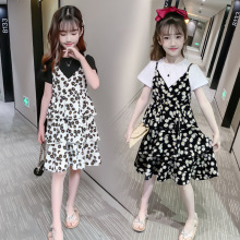 Fashion Summer Girls Clothing Set 2020 Children T-shirt+ Straps Floral Dress 2Pcs Kids Outfits 3 to 14 Years Teen Girl Clothes 3 to 14 years kids