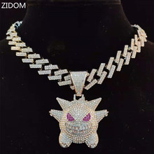 Men Women Hip Hop Gengar Pendant Necklace with Iced Out Bling Chain HipHop Necklaces Fashion Charm Jewelry