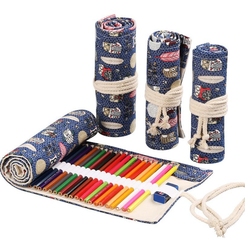 Animal Roll Pencil Case Kawaii Owl Pencil Bag Canvas Pen Box Stationery School Supplies Student Art Painting Storage Bag