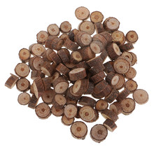 100 Mini tranches de bois naturel, dalles de bois, écorce d'arbre rustique, disque de branche de bois