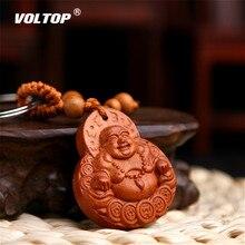 Noyer bois Sculpture voiture suspendus accessoires ornements pendentif intérieur tableau de bord décorations chanceux Maitreya