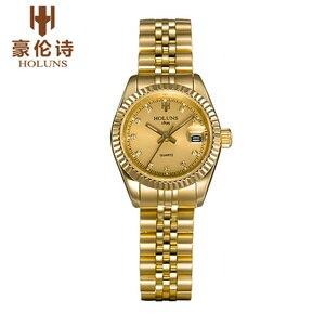 Lujosos relojes de cuarzo con diamantes para mujer, reloj de negocios de acero inoxidable resistente al agua, regalo de amor, Top sale 2017, holuns de moda