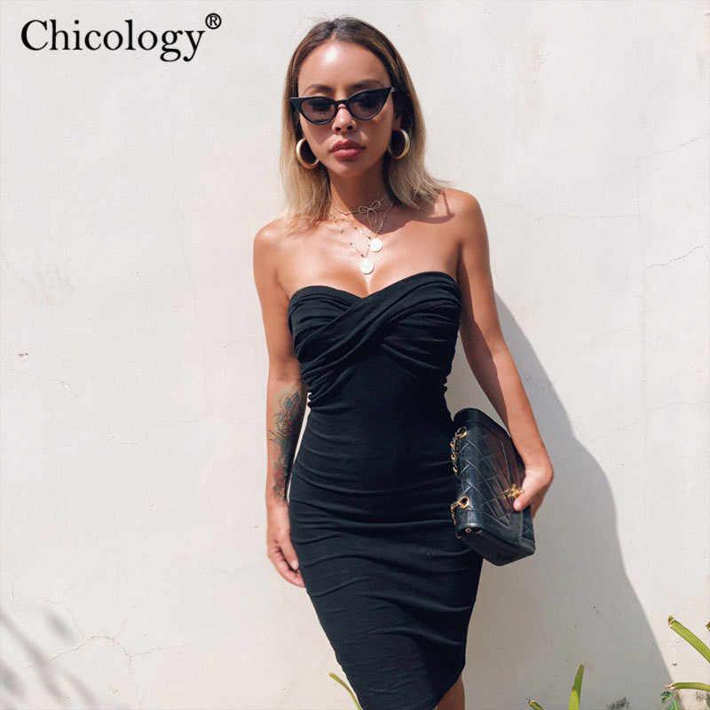Chicology boob tube elegante mini kleid frauen ärmellose party kleidung 2019 sommer herbst weibliche bodycon sexy club büro dame