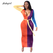 Contrast Color Patchwork Women's Dress Autumn Sexy V Neck Lace Up Bodycon Dress Casual Slim Night Club Party Maxi Dress Vestidos