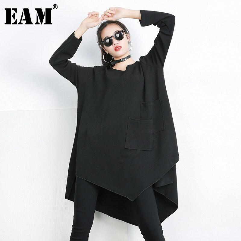 [EAM] 2019 New Autumn Winter Black Round Neck Long Sleeve Big Size Irregular Splicing Pocket T-shirt Women Fashion Tide 1C019