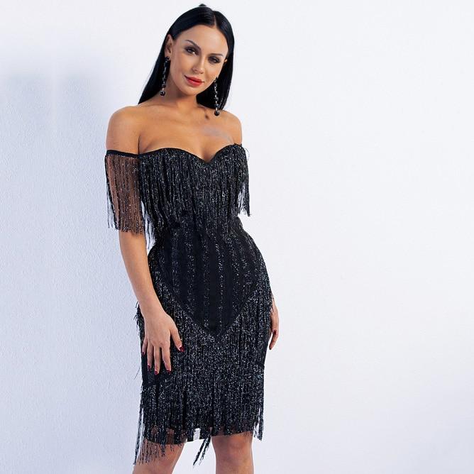Dressv Black Off The Shoulder Cocktail Dress Knee Length Tassel Sleeveless Mermaid Party Formal Night Club Cocktail Dresses