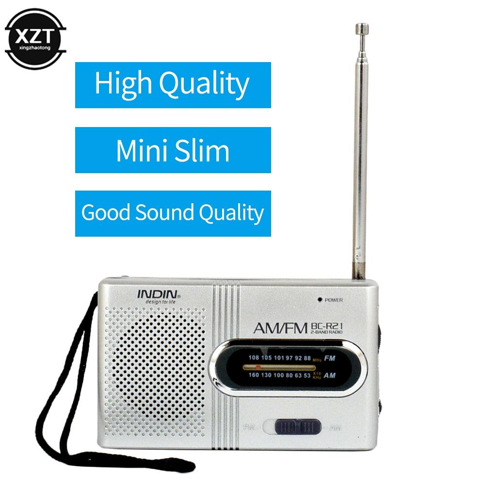 Беспроводной мини радио AM FM приемник телескопическая антенна мини портативный карманный динамик MP3 музыка на открытом воздухе аккумулятор...