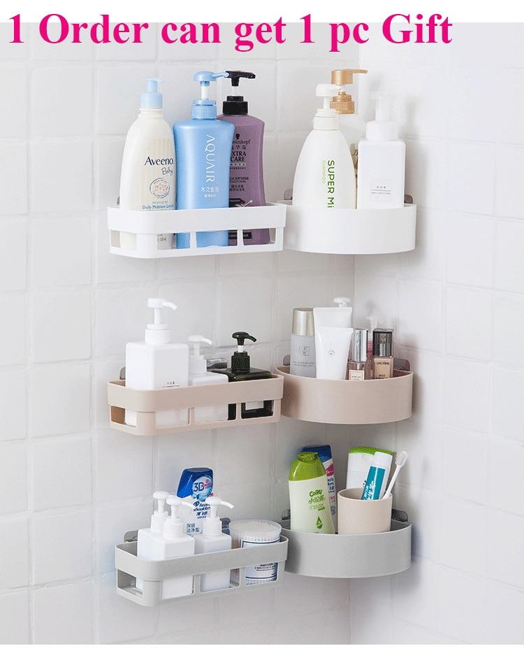 Bathroom Storage Rack Wall Hanging Corner Shower Shelf Kitchen Storage Rack Holder Bath Desk Makeup Organizer Wall Decoration