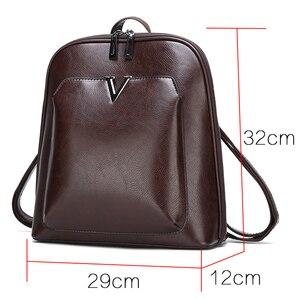 Image 2 - 2019 nouveau femmes Vintage sac à dos marque luxueux en cuir femmes sac à bandoulière grande capacité sac décole pour fille loisirs Backpac