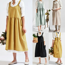 ¡Novedad! Delantal Vintage de lino cruzado en la espalda para mujer, envoltura para repostería, vestido de floristería, delantal informal de cocina, café, Dropship