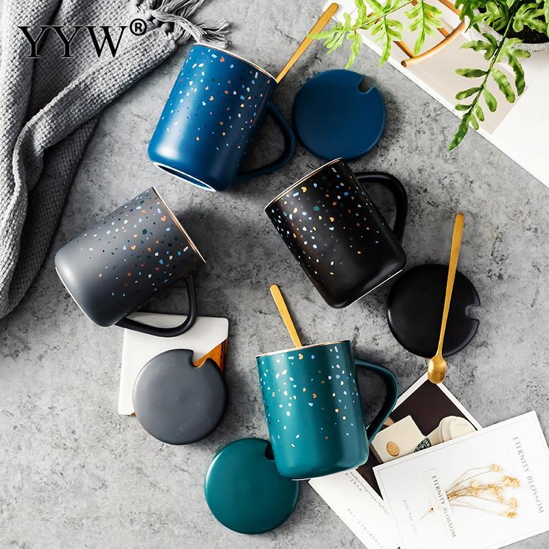Creative Coffee Cup Ceramic Mug With Lid And Spoon Cartoon Milk Coffee Tea Water Cup Porcelain Mugs And Cups Nice Gifts