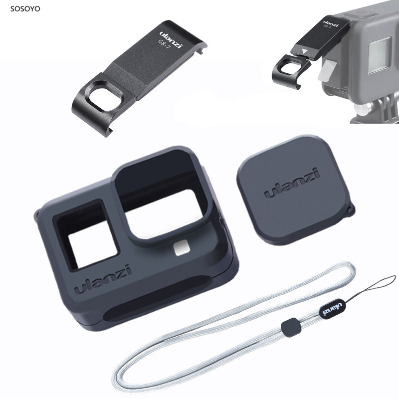 4 In 1 Set Metal Battery Cover Rechargeable Side Cover Silicone Case Lens Cap Lanyard For Gopro Hero 8 Action Camera Accessories
