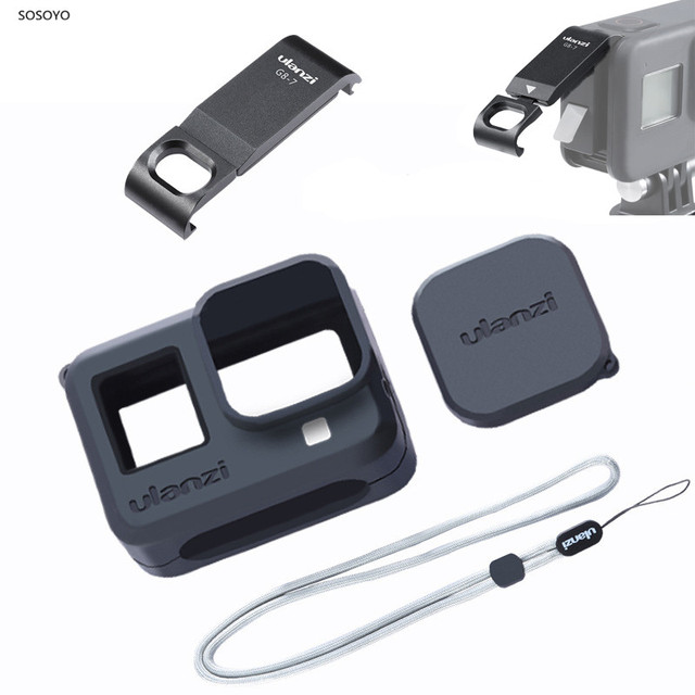 4 in 1 Set Metall Batterie Abdeckung Nachladbare Seite Abdeckung Silikon Fall objektiv Kappe Lanyard Für Gopro Hero 8 Action kamera Zubehör
