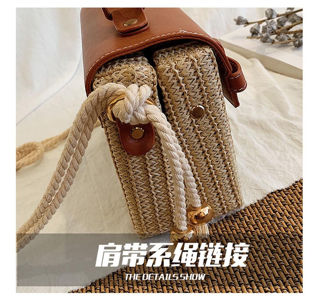 Caixa de palha feminina um ombro tecer