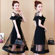 Spring and summer new style Large size L-5XL womens dress Fashion mesh temperament stitching