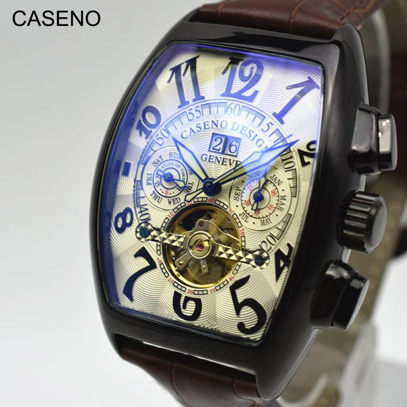 Automatic Mechanical Men Watch Fashion Skeleton Leather Wrist Watch Mens Top Brand Luxury Tourbillon Watch Classic Men CASENO|Mechanical Watches| |  - title=