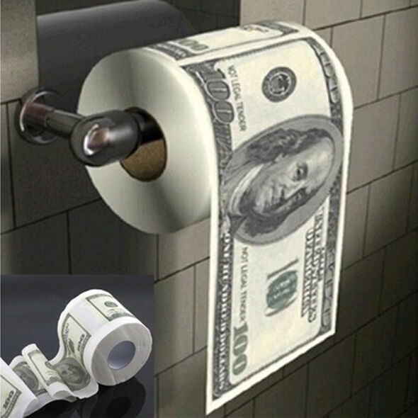 הנשיא טראמפ $100 דולר שרותים נייר פתוח פה מתגלגל ביל הומוריסטי נייר רול חידוש Gag מתנה Dump טראמפ מצחיק gag מתנה