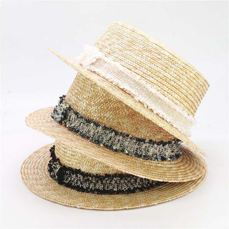 2020 Original Design Fashion Tweed Straw UV Hat For Women And Girls Summer Sun Beach Hat 52cm 57cm Parent-child Caps Wholesale