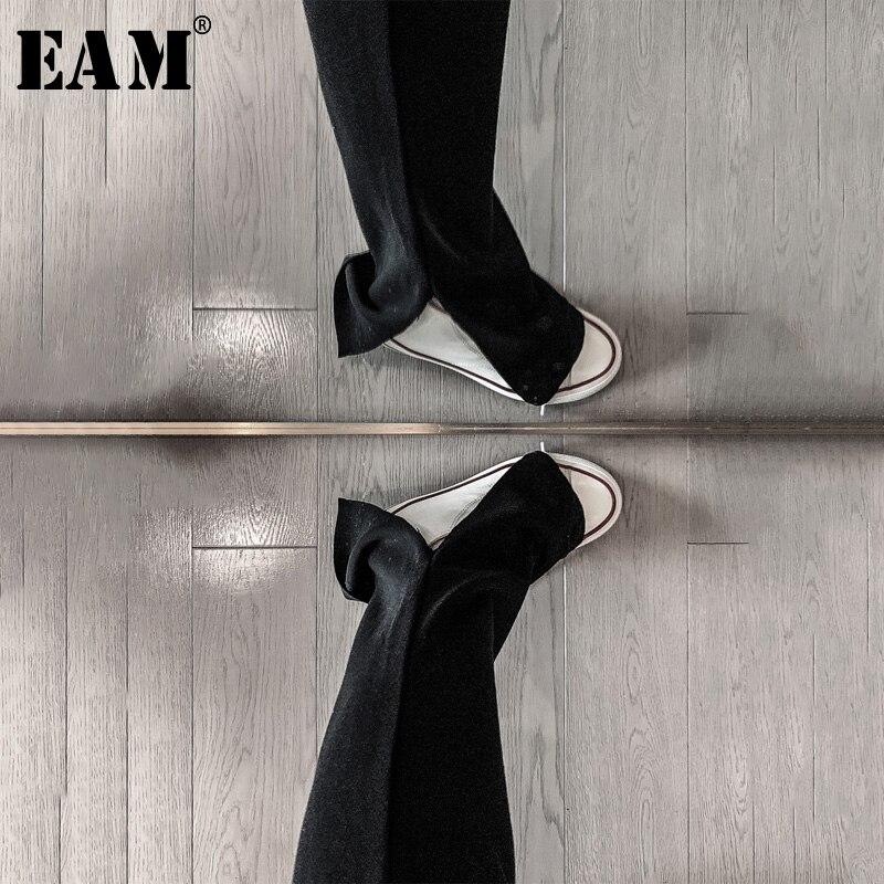 [EAM] High Elastic Waist Black Hem Bent Long Wide Leg Trousers New Loose Fit Pants Women Fashion Tide Spring Autumn 2020 1R347