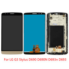 цена на High quality For LG G3 Stylus D690 D690N D693n D693 5.5 LCD DisplayTouch Screen Digitizer Assembly Black White Gold with Frame