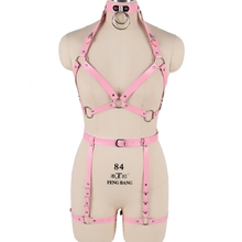 Комплект из розовой кожи, бюстгальтер для связывания тела, сексуальное женское белье в стиле панк, Harajuku, готический регулируемый бюстгальтер, Клубные, вечерние, танцевальные, фестивальный Рейв, одежда