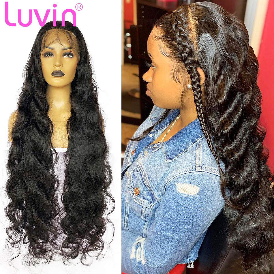 Luvin 360-Lace-Frontal Wigs Baby Hair Human-Hair-250-Density Body-Wave Pre-Plucked 13x6
