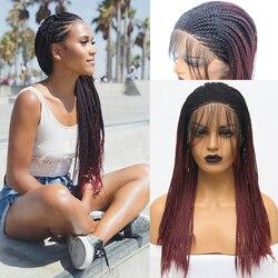 RONGDUOYI длинные двухцветные бордовые синтетические парики на кружеве Омбре красные термостойкие волосы плетеная коробка косички кружевные п...