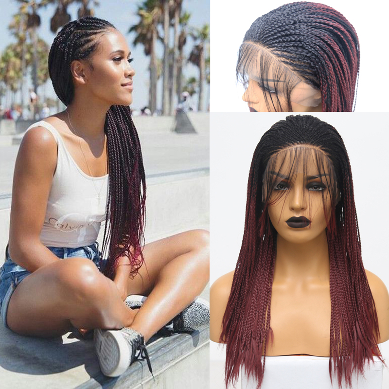 RONGDUOYI Long Two Tone Burgundy Synthetic Lace Front Wig Ombre Red Heat Resistant Hair Braided Box Braids Lace Wigs For Women