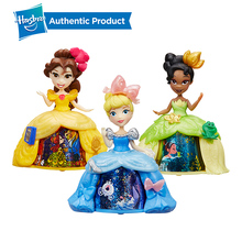 Hasbro Disney Princess 3Inch Little Kingdom Spin A Story Belle Cinderella Tiana Beauty Rotate Toy Dolls Christmas Gift For Girls