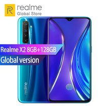 "Versi Global Realme X2 8GB RAM 128GB ROM Snapdragon 730G Octa Core 6.4 ""64MP Kamera Belakang NFC Smartphone 30W VOOC Flash Charger(China)"