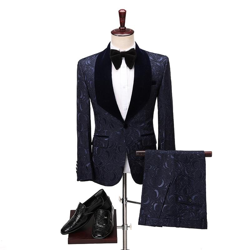 New Brand Groom Tuxedo Suit 2020 Custom Made Navy Blue Men Suits Terno Slim Fit Velvet Lapel Groomsmen Men Wedding Prom Suits