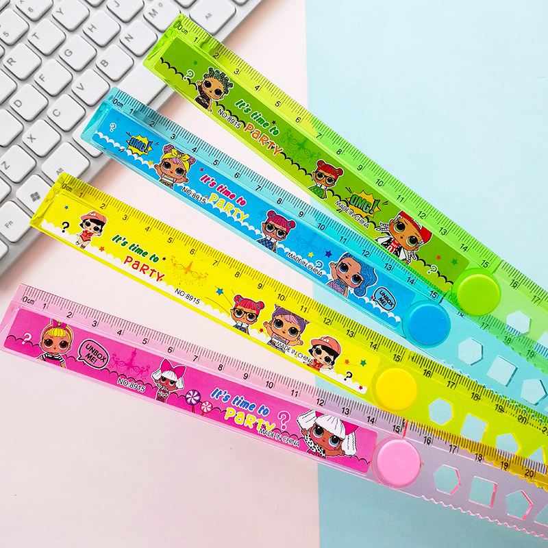 30CM Cute Girl Dolls Study Time Folding Ruler Multifunction DIY Surprise Lovely Baby Drawing Straight Ruler For Kids Stationery