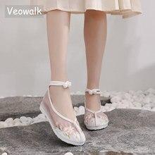 Veowalk Summer Patchwork Gauze Design Women Cotton Ballet Flats Platforms Elegant Ladies Casual Ankle Strap Shoes Comfort Shoes
