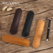 1PC Genuine Leather Pen Holder Retro Handmade Cowhide Pen Case Portable Vintage Pen Bag Pen Protector Office School Stationery