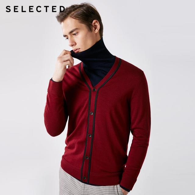 SELECTED 100% Wool Long sleeved Cardigan Pullover Sweater Mens Knitted Clothes T