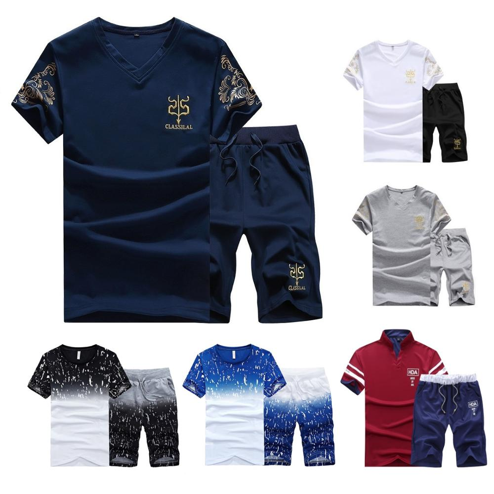 New Fashion Sportsuit and Tee Shirt Set Mens T Shirt Shorts + Short Pants Men Summer Tracksuit Men Casual Brand Tee Shirts 2020