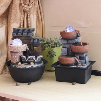 Water Fountains Feng Shui Resin Crafts Gifts Indoor Fountain fontaine interieur Desktop