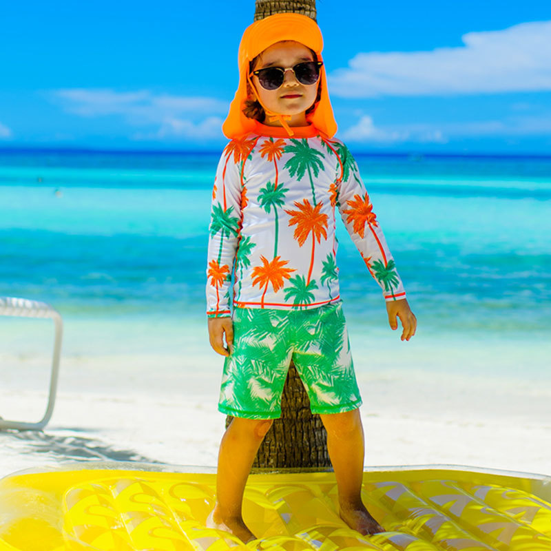 CHILDREN'S Swimwear Split Boxer Long Sleeve Sun-resistant Warm Windproof Sand Ultravioletray Surfing Diving Bathing Suit